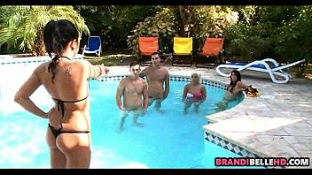 hustlers party pool Busty lesbians eat pussy