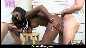 slave white ebony strapon Tied up he two toyed
